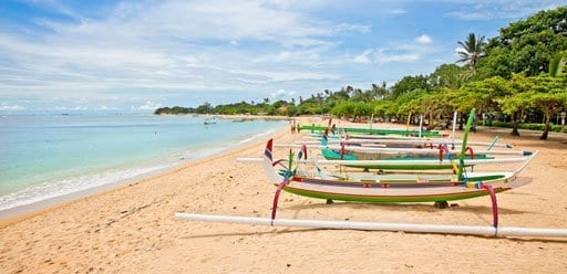 Traditional fishermans boats on the beach in Bali