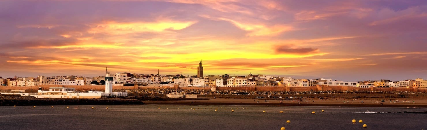 PMGY Volunteer Weekend trips in Morocco with a sunset over Rabat during their Volunteer work in Morocco