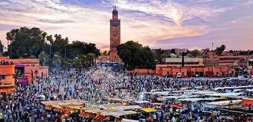 PMGY Volunteer Weekend trips in Morocco at the UNESCO Jemaa el Fna Square in Marrakech during their Volunteer work in Morocco