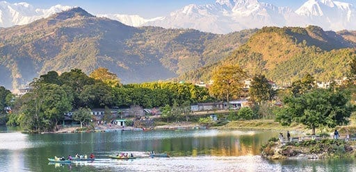 Pokhara lake and the Annapurna range in Nepal