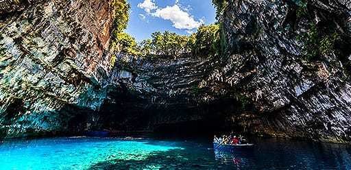 PMGY volunteer in Greece visiting Melissani Cave during their volunteer weekend trips in Greece