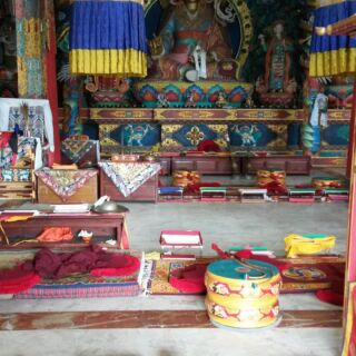 The inside of my monastery's prayer hall #monks #monastery #brightcolours #beautiful #pmgynepal #travelling #travels