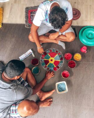 Ashika and Ishan- our Sri Lankan local team, creating a beautiful Rangoli in the volunteer house to celebrate Diwali🙏🏽🕯 : Although Diwali is not celebrated in the south of Sri Lanka as most Sri Lankan's here are Buddhist and not Hindu, the whole country gets a holiday and day off, and we will take any excuse to celebrate the Sri Lankan culture with our volunteers❤️🧡💛💚 . #pmgysrilanka #travel #diwali #culture #pmgyfamily #pmgyexperience