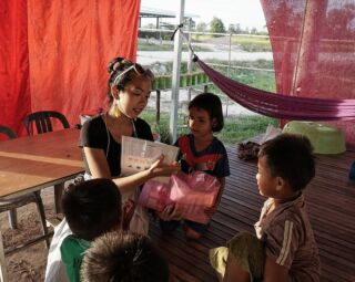 During most weekends, I normally go out on the lil pink bike to explore the village. Over the last months, I've met so many little ones who doesn't come to school/stopped coming. Have been wanting to start a project to reach out to them to encourage them to keep learning. Thus, the Hope on Wheels project was born!  We visited them and gave out some school supplies and English resources to encourage to keep studying.  Their excitement over them was overwhelming and it was so lovely to see my previous students!  Today, we passed by some of the kids we gave them out to. There was a group of 3 little girls with the folder, flipping through the English book and writing. It felt overwhelmingly sweet and moving to see they were actually using it. Srey Lean, the little girl in the photo, is an old student of mine. I taught her how to write! Shes incredibly sweet and extremely bright for her age.  Each folder costs about $2 to make. In each, there was about 20 items of school supplies. We made 30 but I am hoping to expand it and make about 70 more as there were plenty of kids whom we could have easily given them out to. hopeagency_cambodia  https://www.hopeagency.org/donate-2 #HopeAgency #volunteer #Cambodia